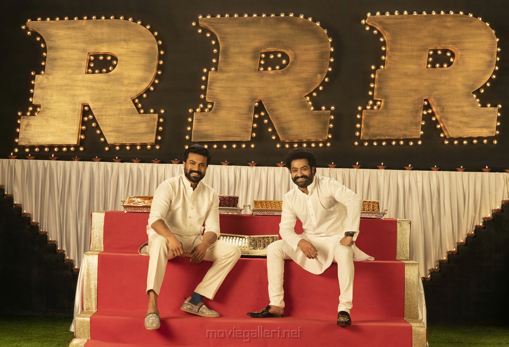 Ram Charan, NTR in RRR Movie Diwali Special Images