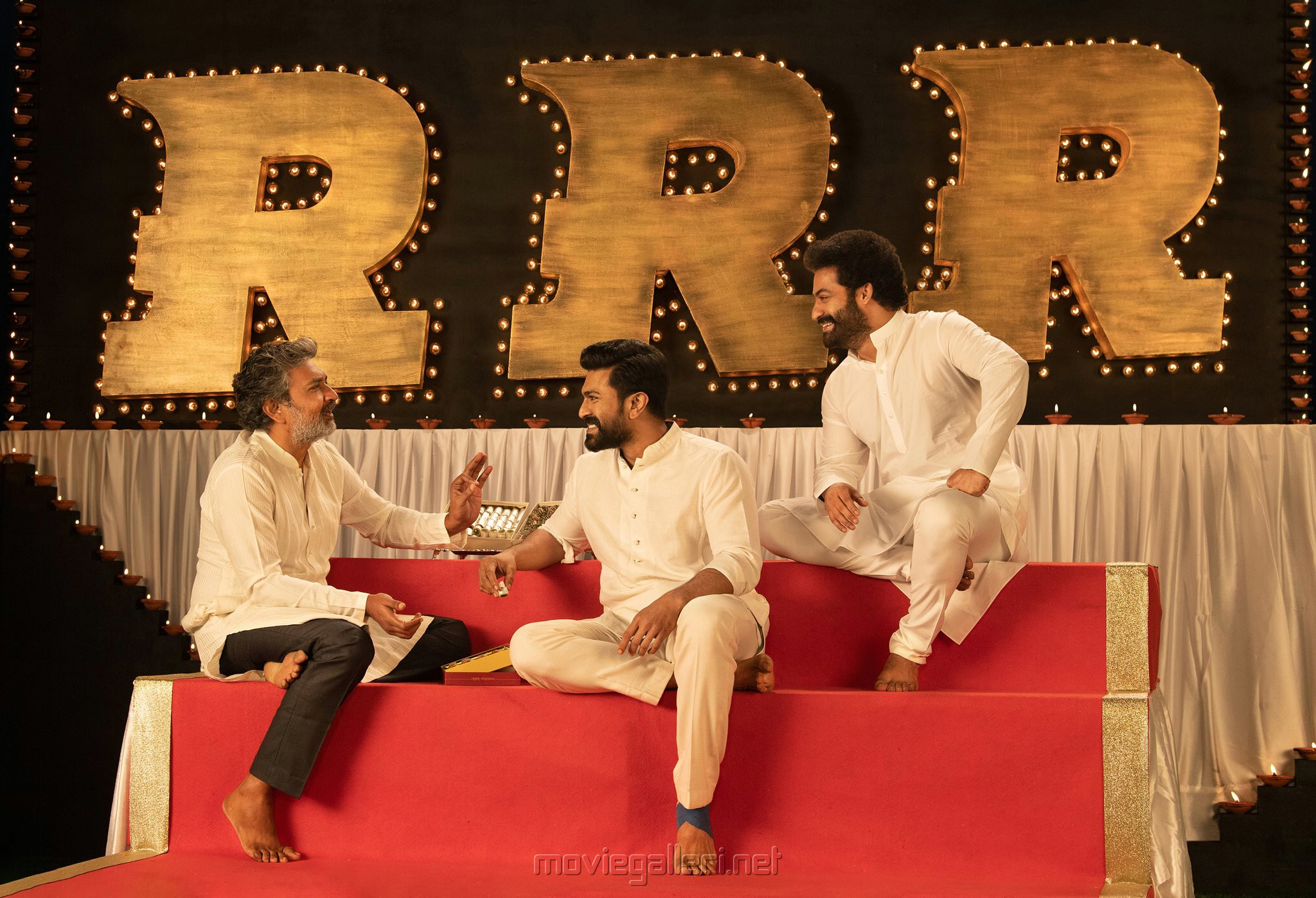 SS Rajamouli, Ram Charan, NTR in RRR Movie Diwali Special Images