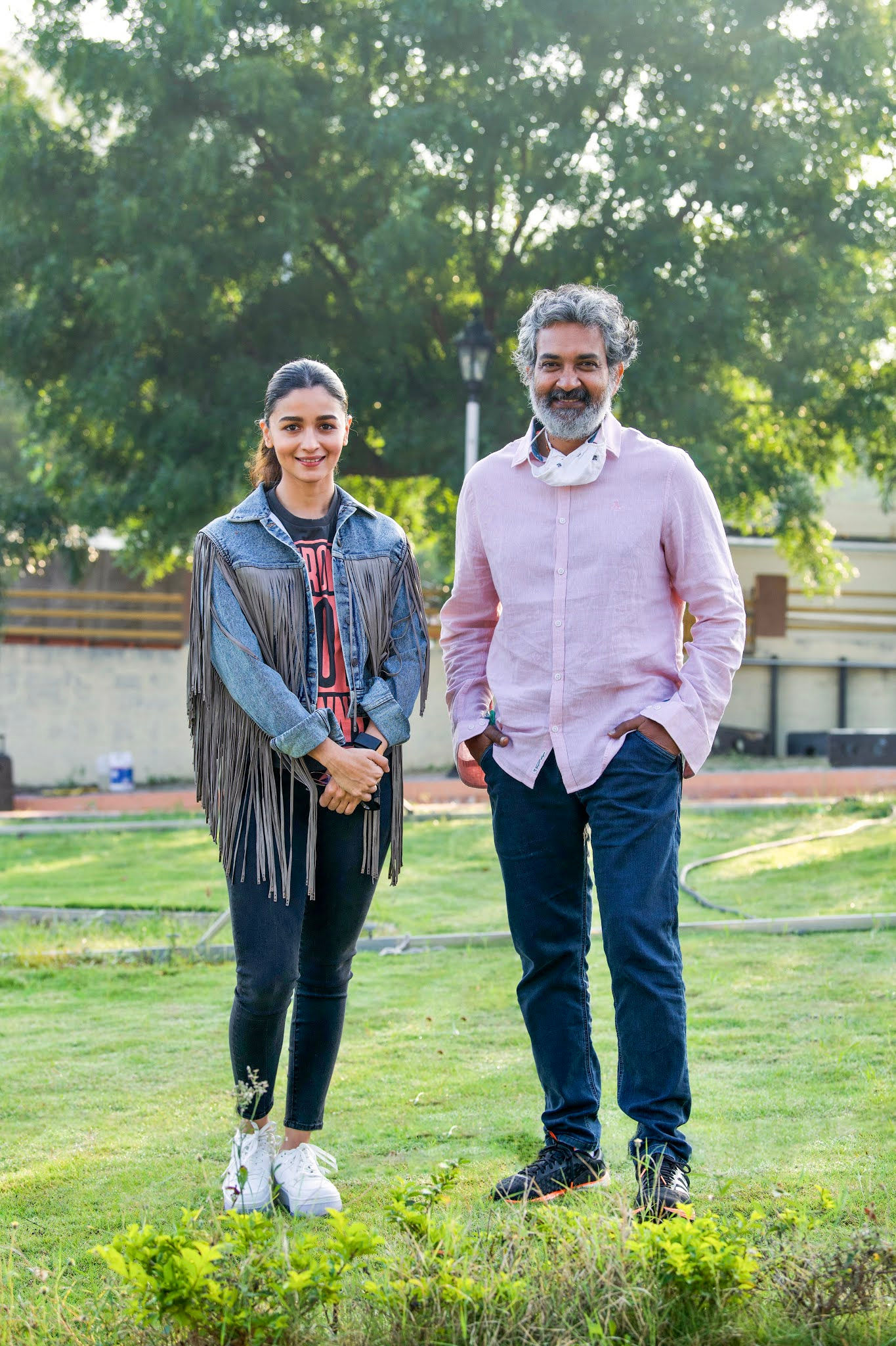 Actress Alia Bhatt & Director SS Rajamouli @ RRR Movie Shoot