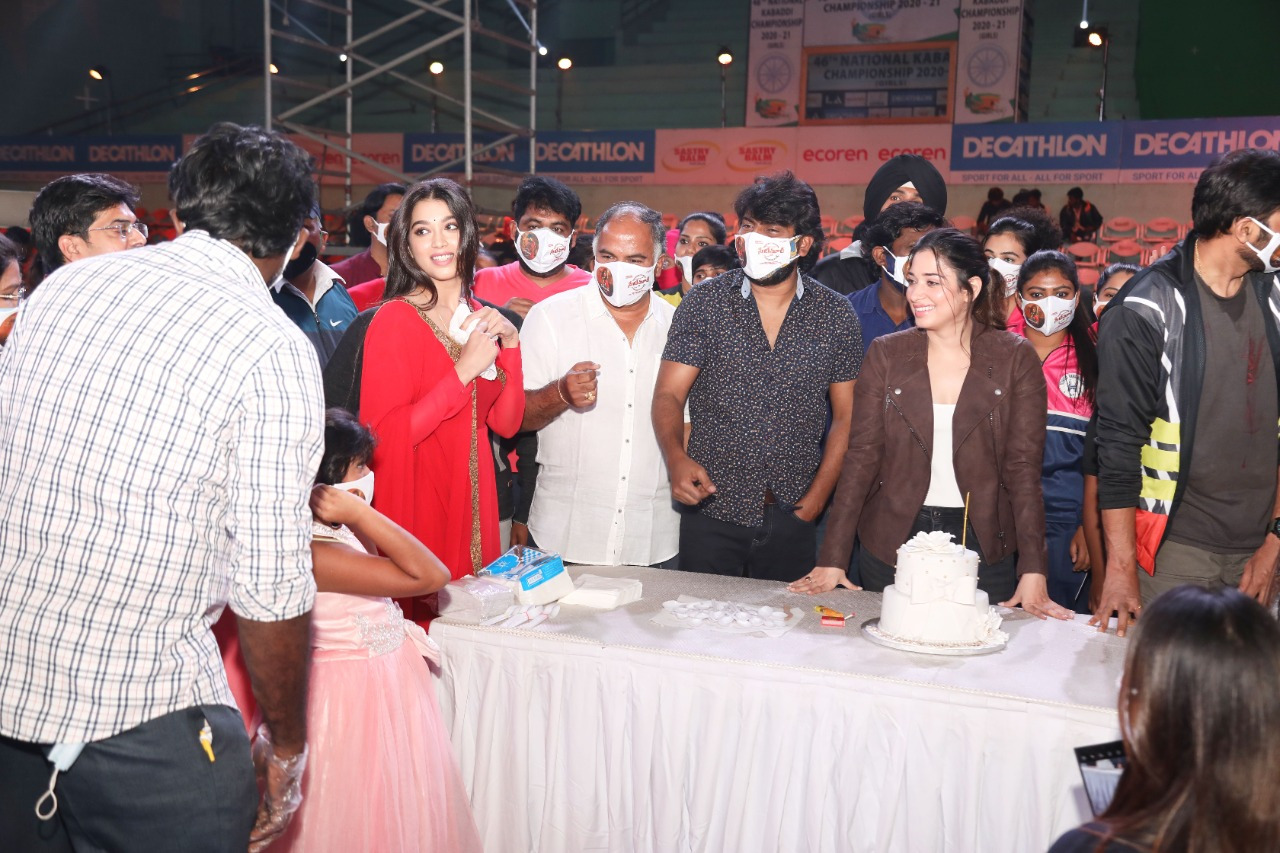 Actress Tamannaah Birthday Celebrations @ On The Sets Of Seetimaarr