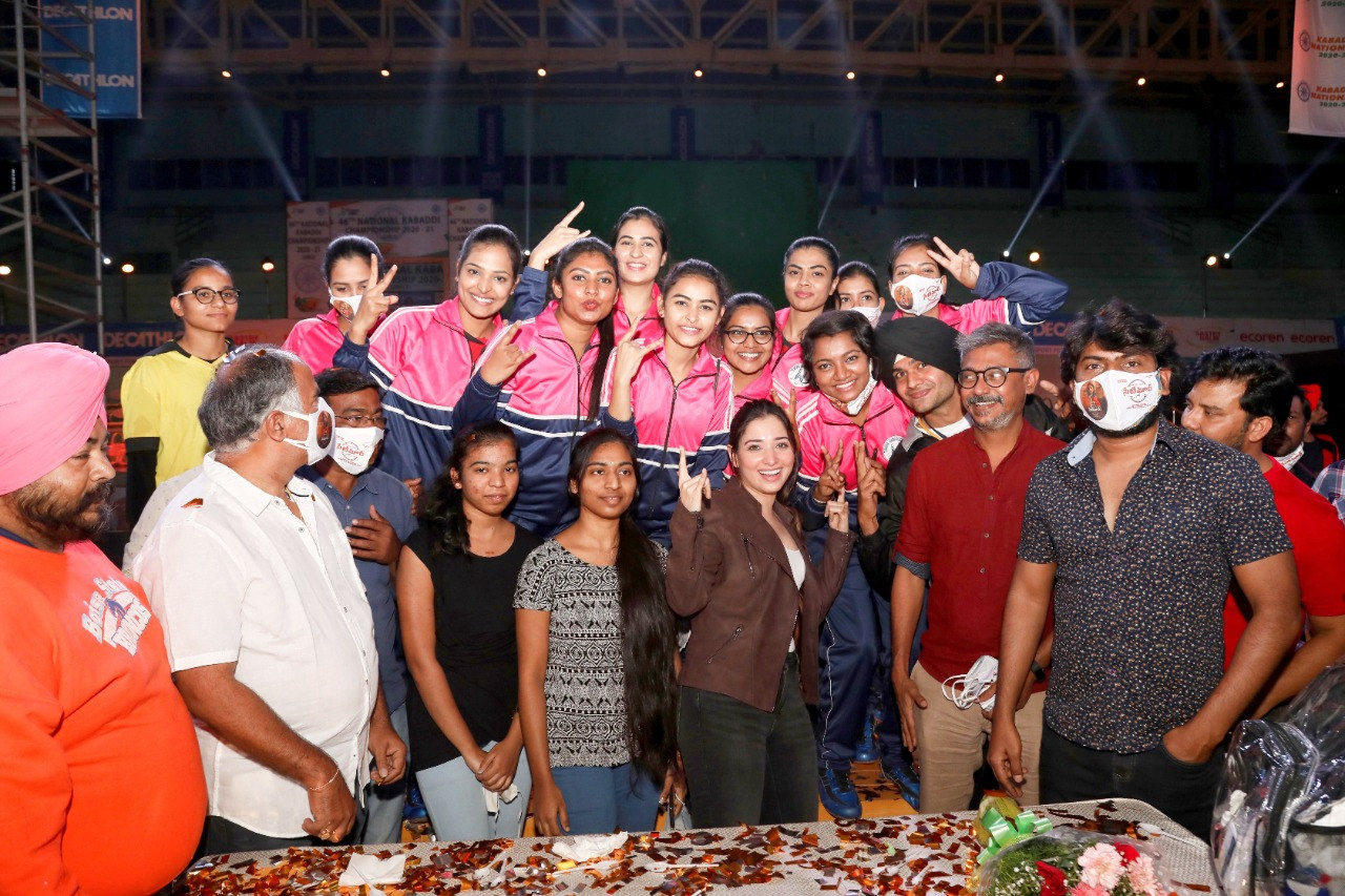 Actress Tamannaah Birthday Celebrations at Seetimaarr Movie Sets