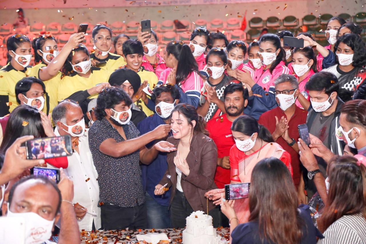 Grand Birthday Celebrations Of Star Heroine Tamannaah On The Sets Of 'Seetimaarr'