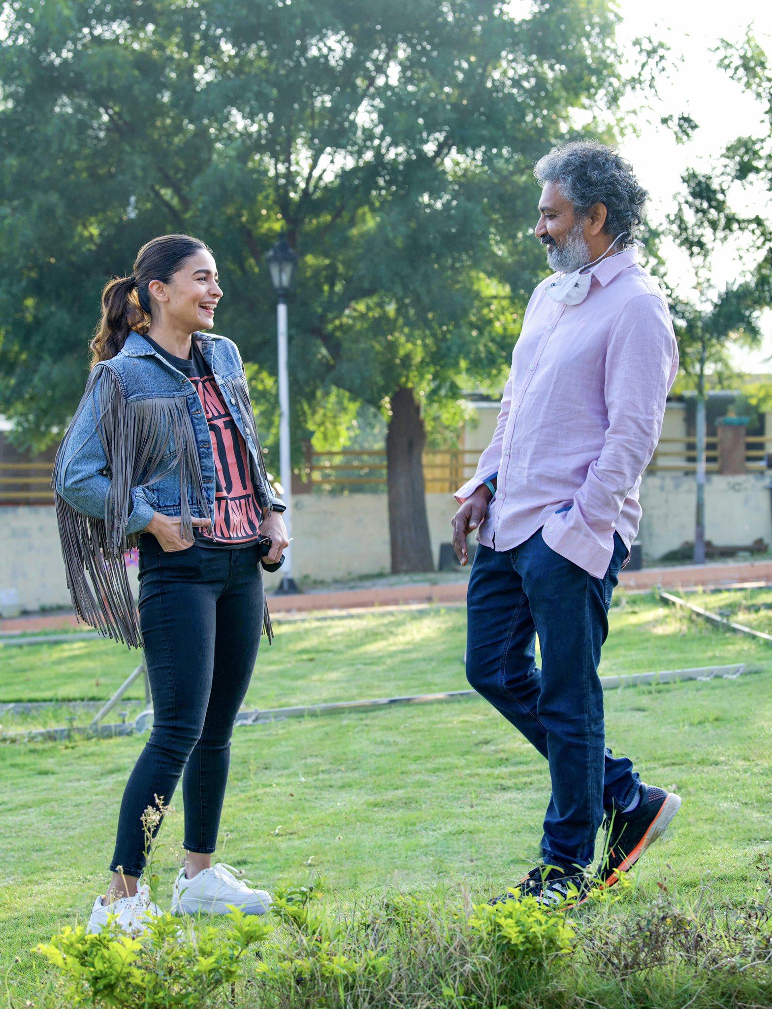 Heroine Alia Bhatt & Director SS Rajamouli @ RRR Movie Shooting Spot