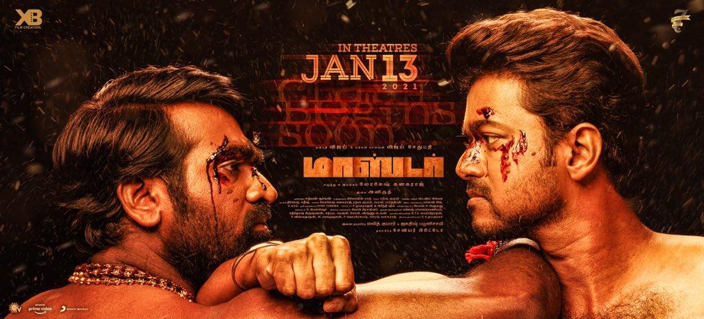 Vijay Sethupathi Vijay Master Movie Release Date Jan 13th Poster