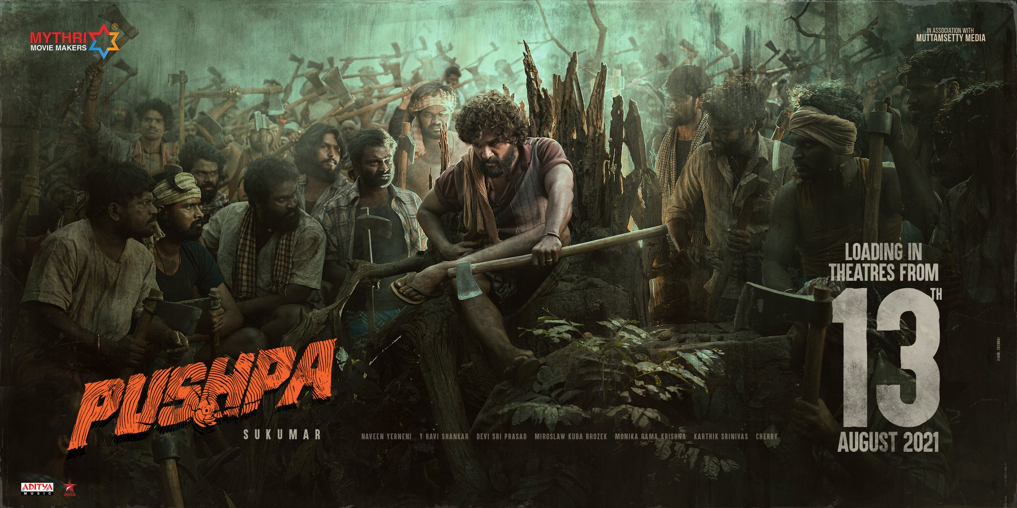 Allu Arjun Pushpa Movie Release Date on Aug 13th 2021 Poster HD
