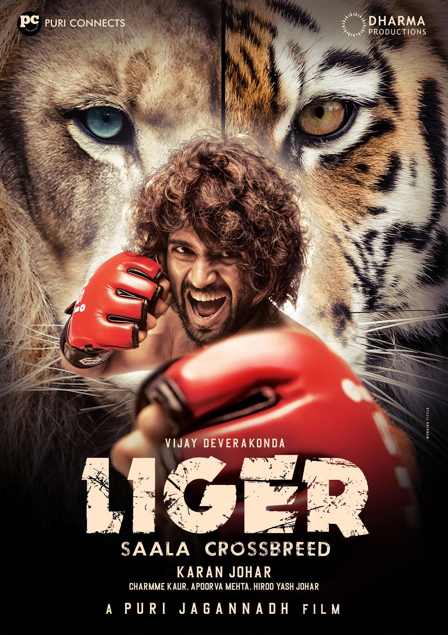 Hero Vijay Deverakonda LIGER Saala Crossbreed FIRST LOOK HD Poster