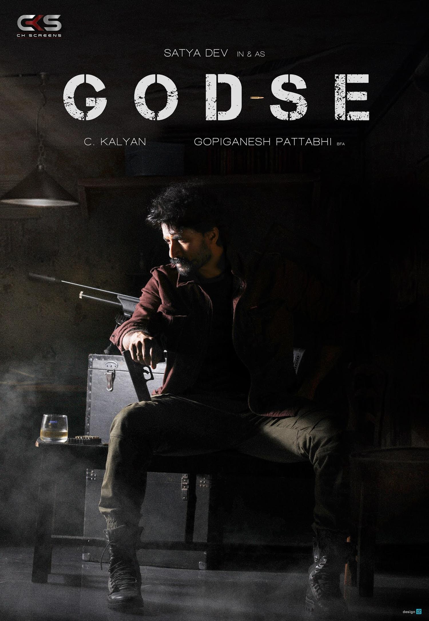 Hero Satya Dev action packed thriller GODSE title poster