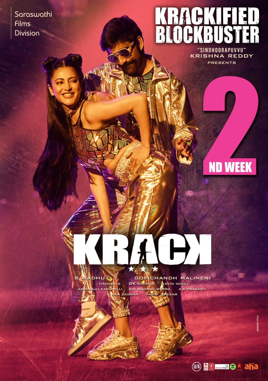 Shruti Haasan, Ravi Teja in Krack Movie 2nd Week Posters