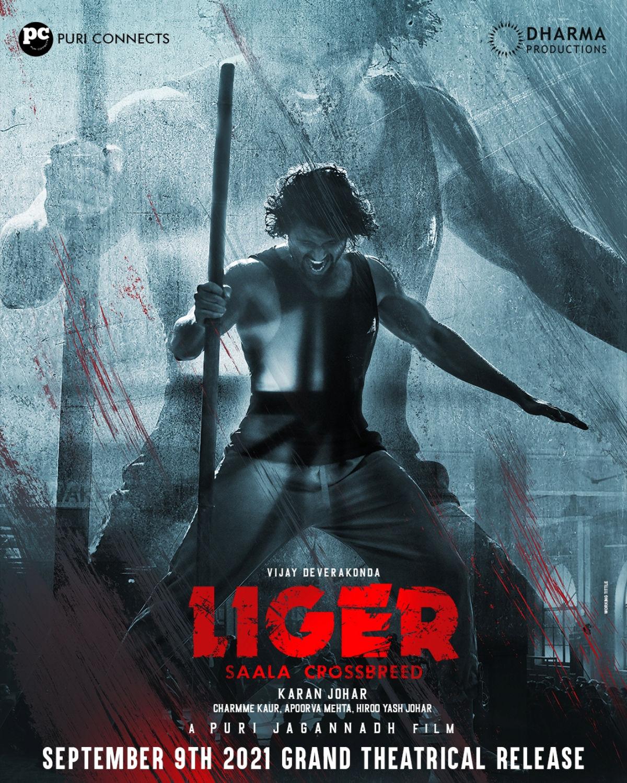 Vijay Deverakonda LIGER Saala Crossbreed Movie Release Date September 9th Poster HD