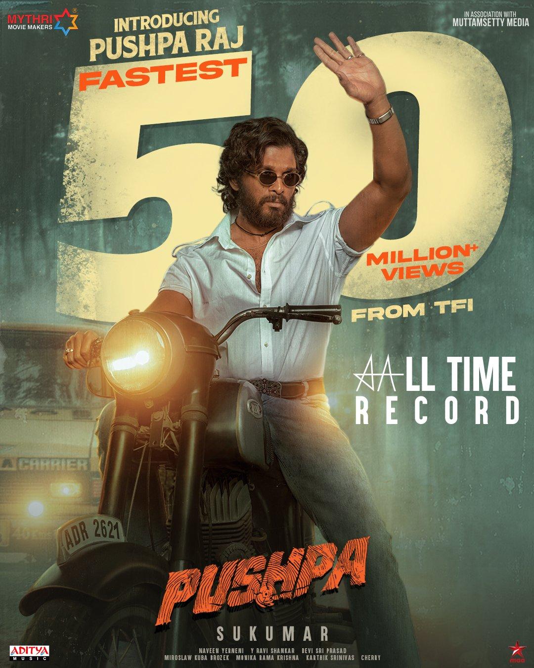 Allu Arjun Pushpa Raj Teaser crossed 50 Million Views