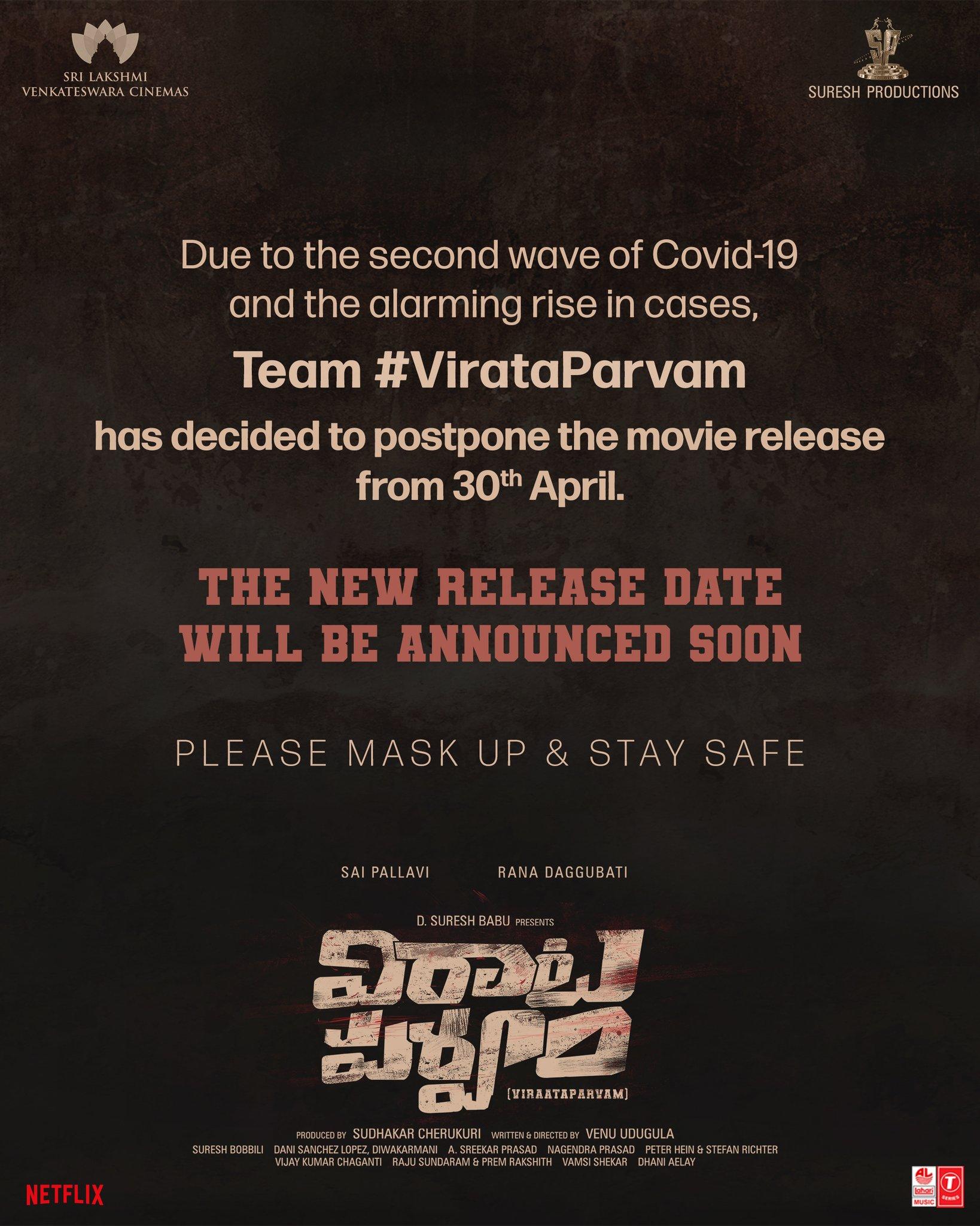 Rana, Sai Pallavi, Venu Udugula's Virata Parvam Release Gets Postponed