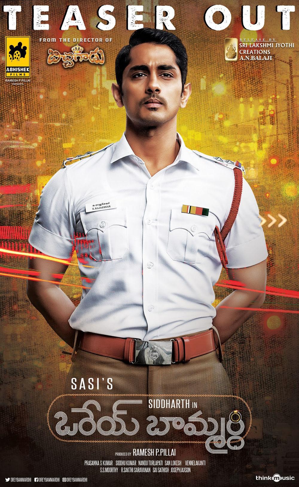 Siddharth, GV Prakash Kumar High Octane Action Thriller Orey Bamardhi Teaser Released