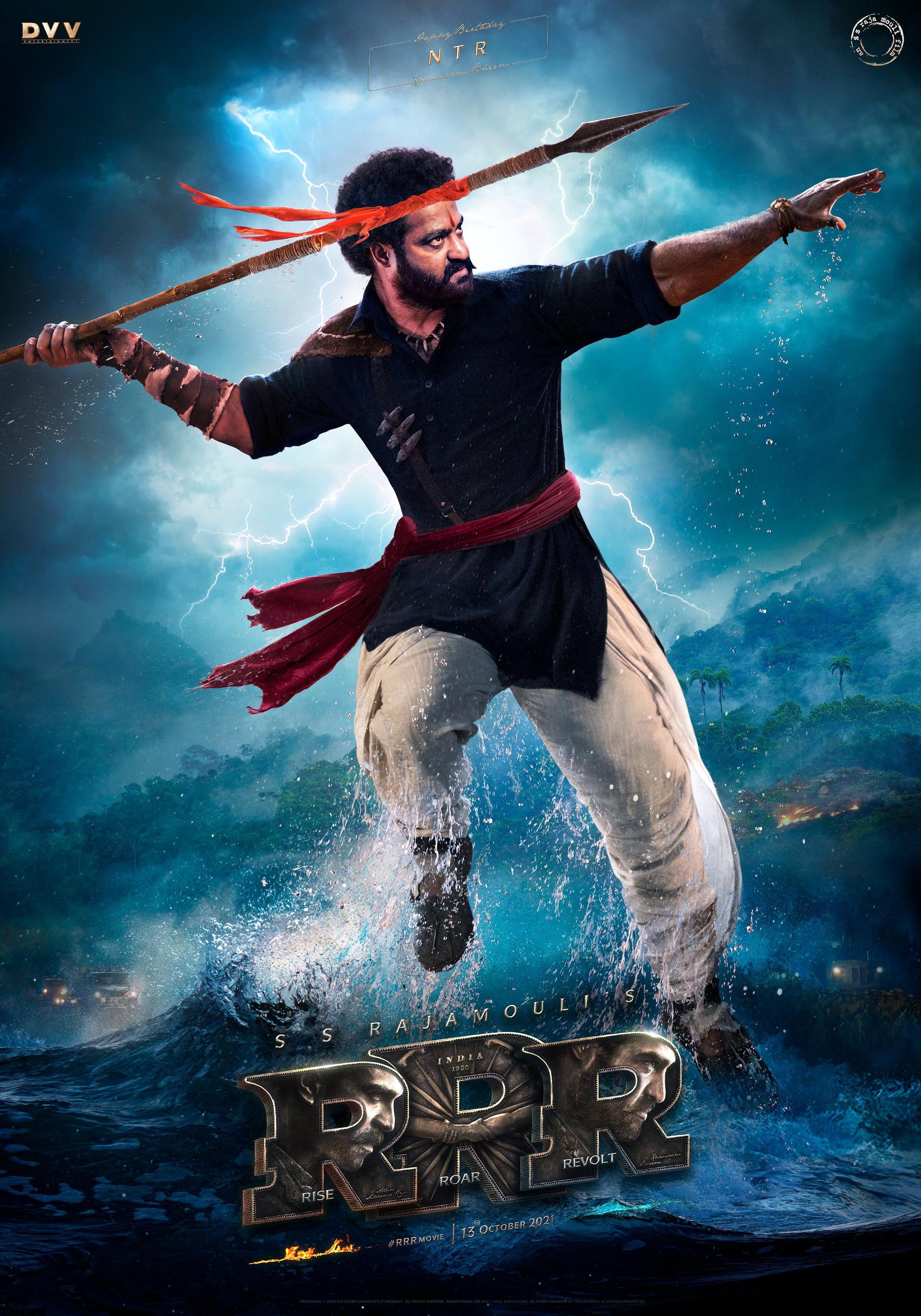 Intense look of NTR as Komaram Bheem from RRR Movie Poster HD