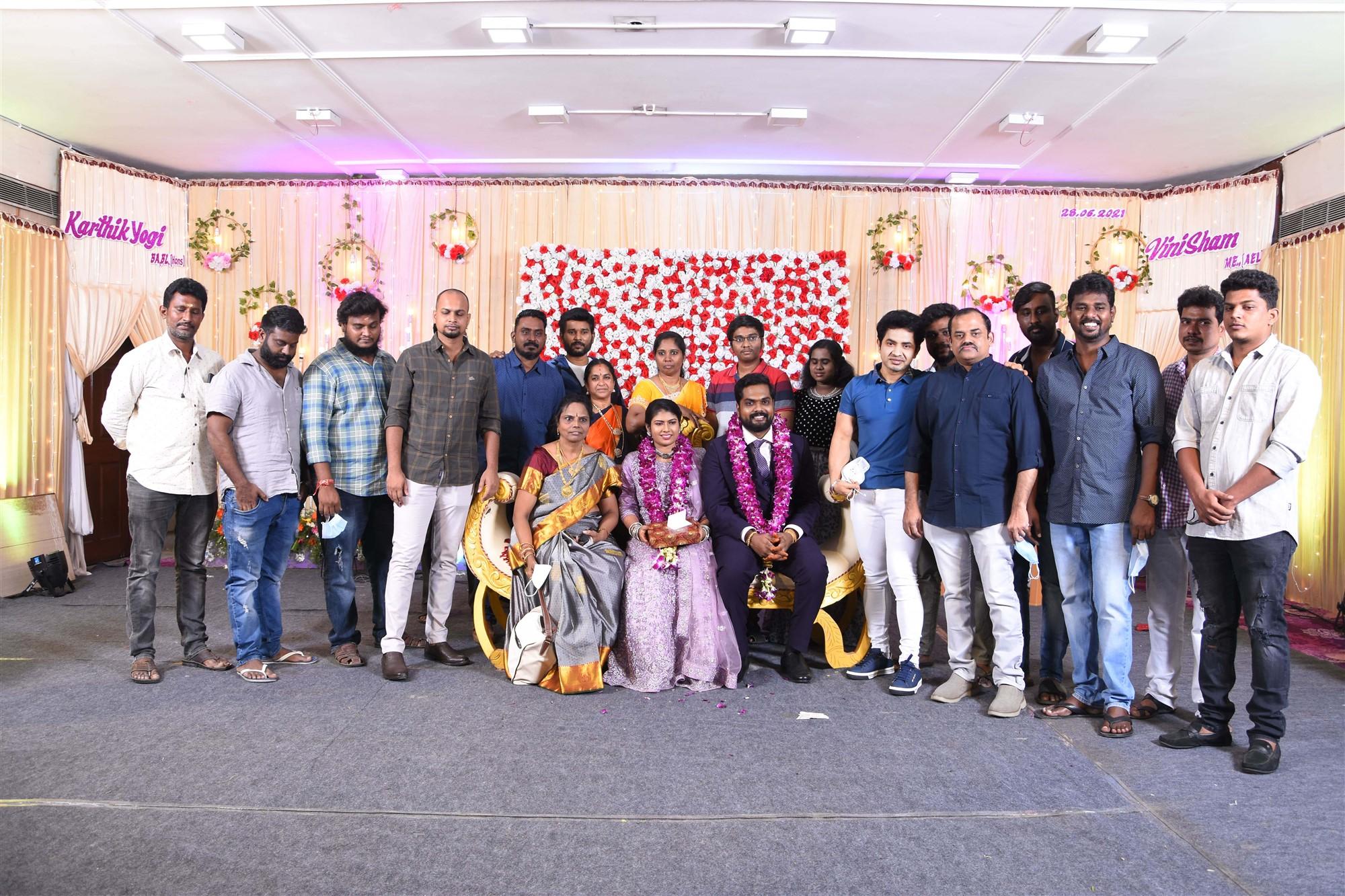 KJR Studios Producer Kotapadi J Rajesh @ Dikkiloona Movie Director Karthik Yogi Wedding Images HD