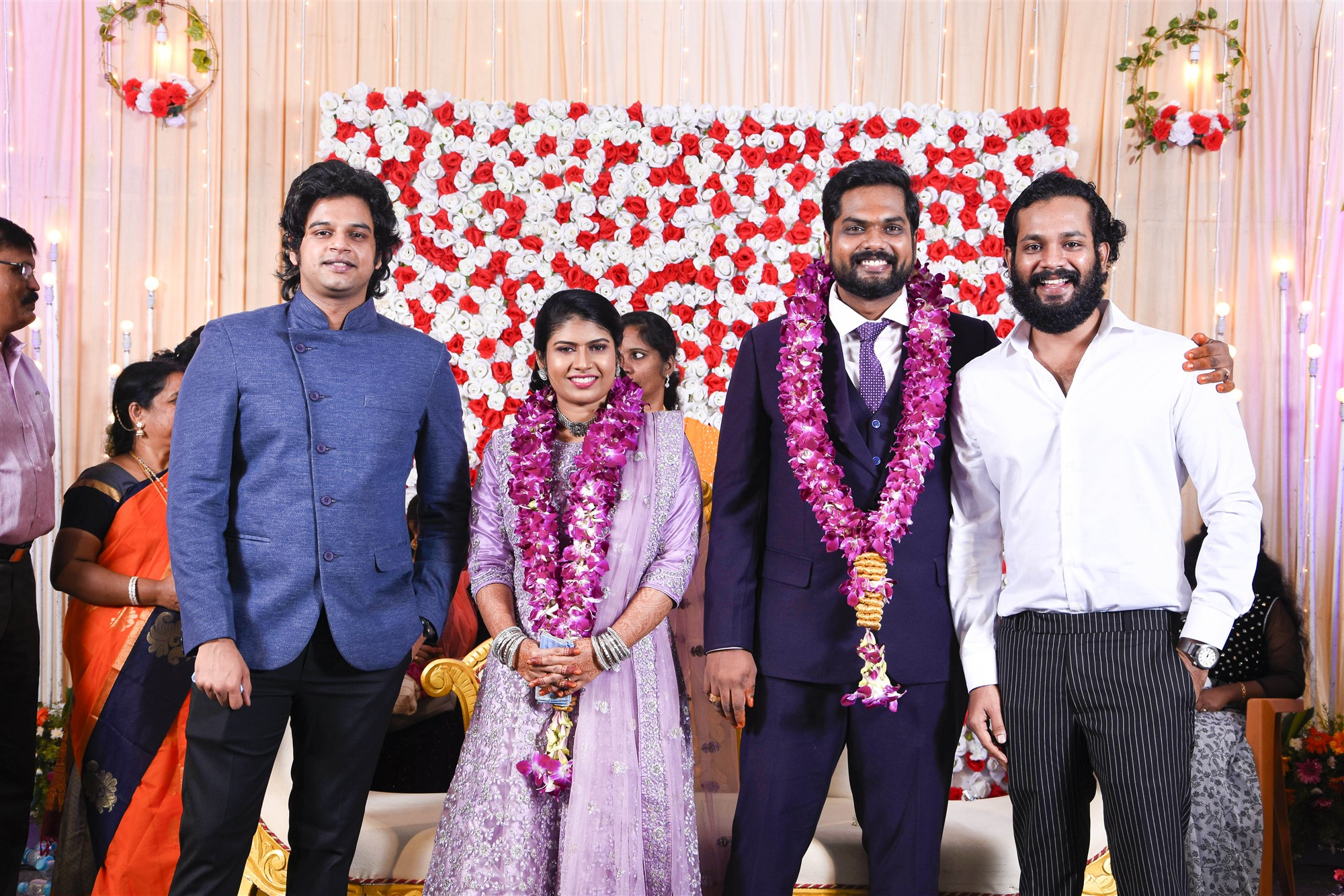 Vatsan Chakravarthy, Kanna Ravi @ Dikkiloona Movie Director Karthik Yogi Wedding Images HD