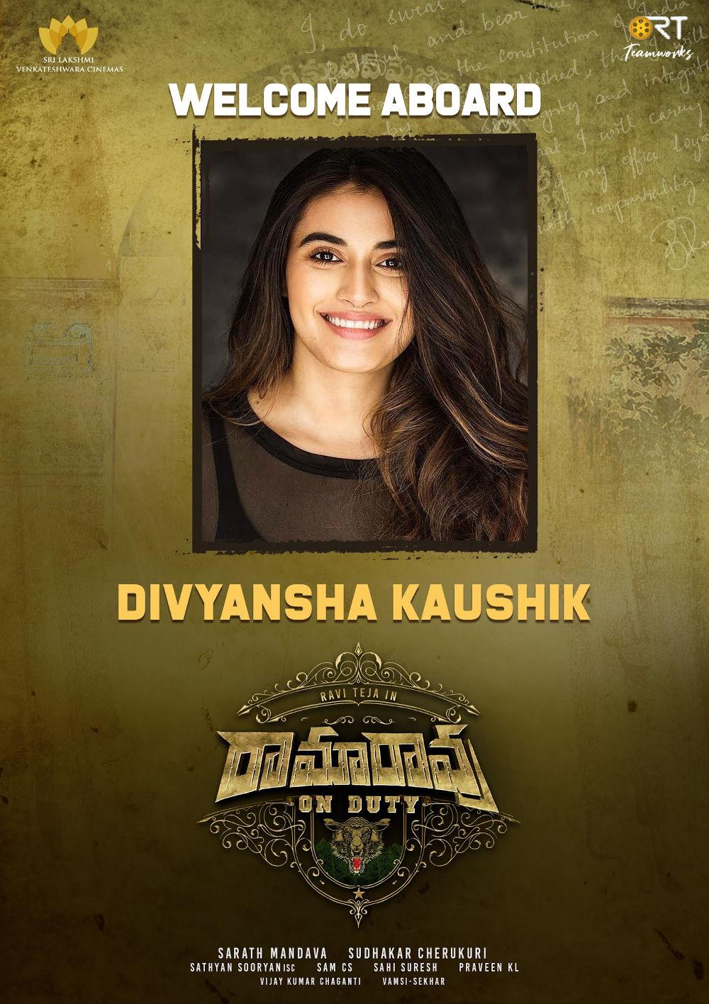 Actress Divyasha Kaushik In Ravi Teja Ramarao On Duty Movie