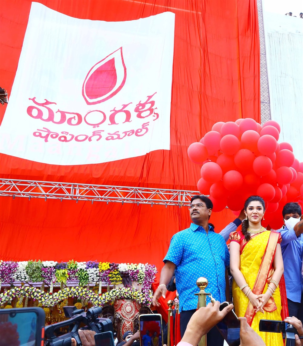 Actress of Uppena Fame Krithi Shetty at the launch of the Maangalya Shopping Mall at AS Rao Nagar