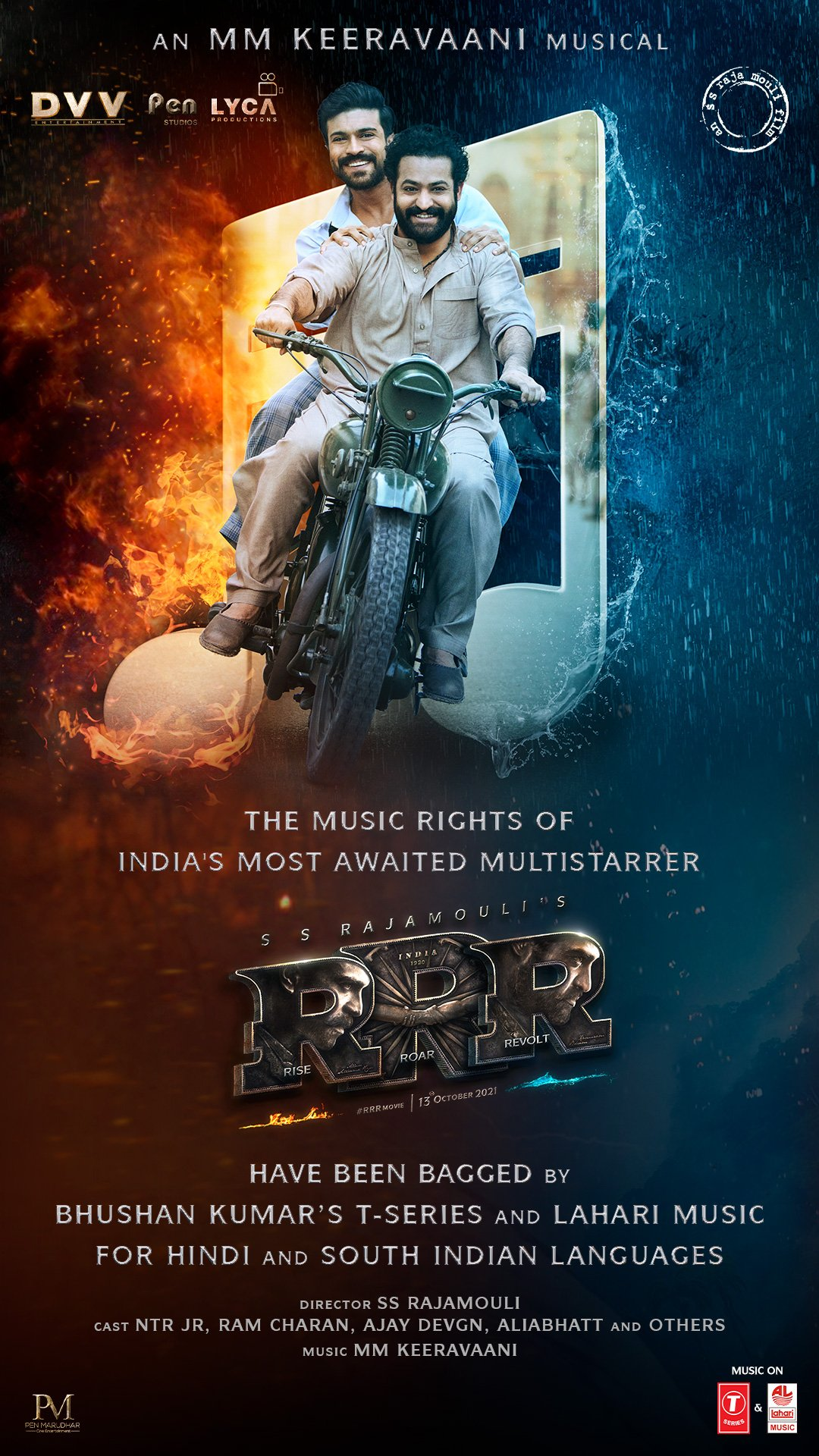 Bhushan Kumar's T-Series & Lahari Music bag music rights in all languages of the magnum opus 'RRR' directed by SS Rajamouli