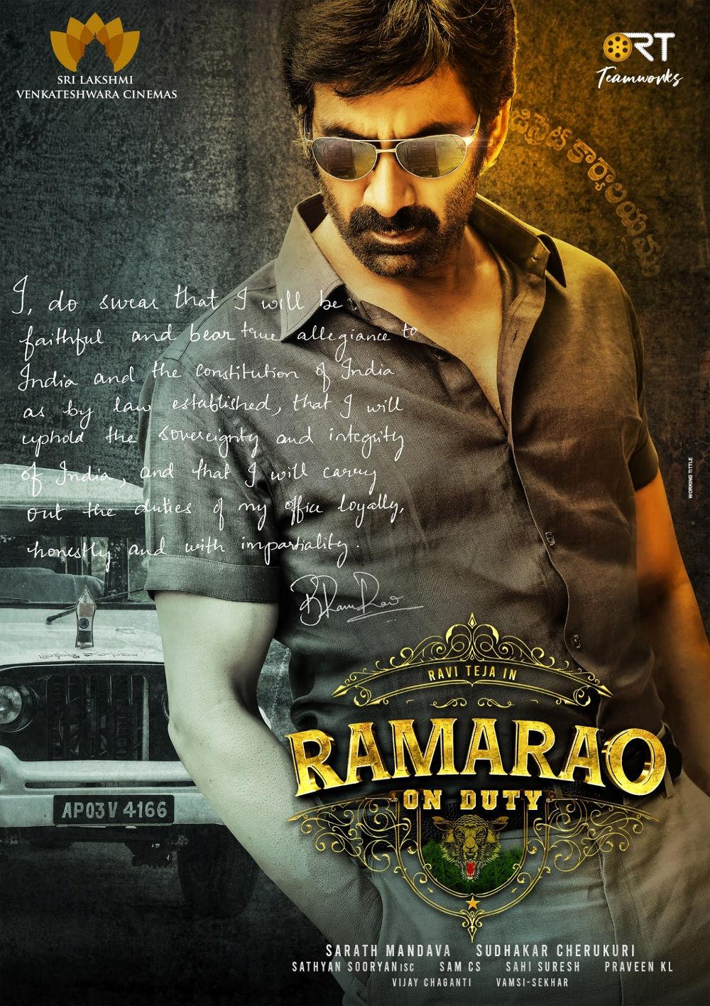 Ravi Teja Ramarao On Duty First Look Poster