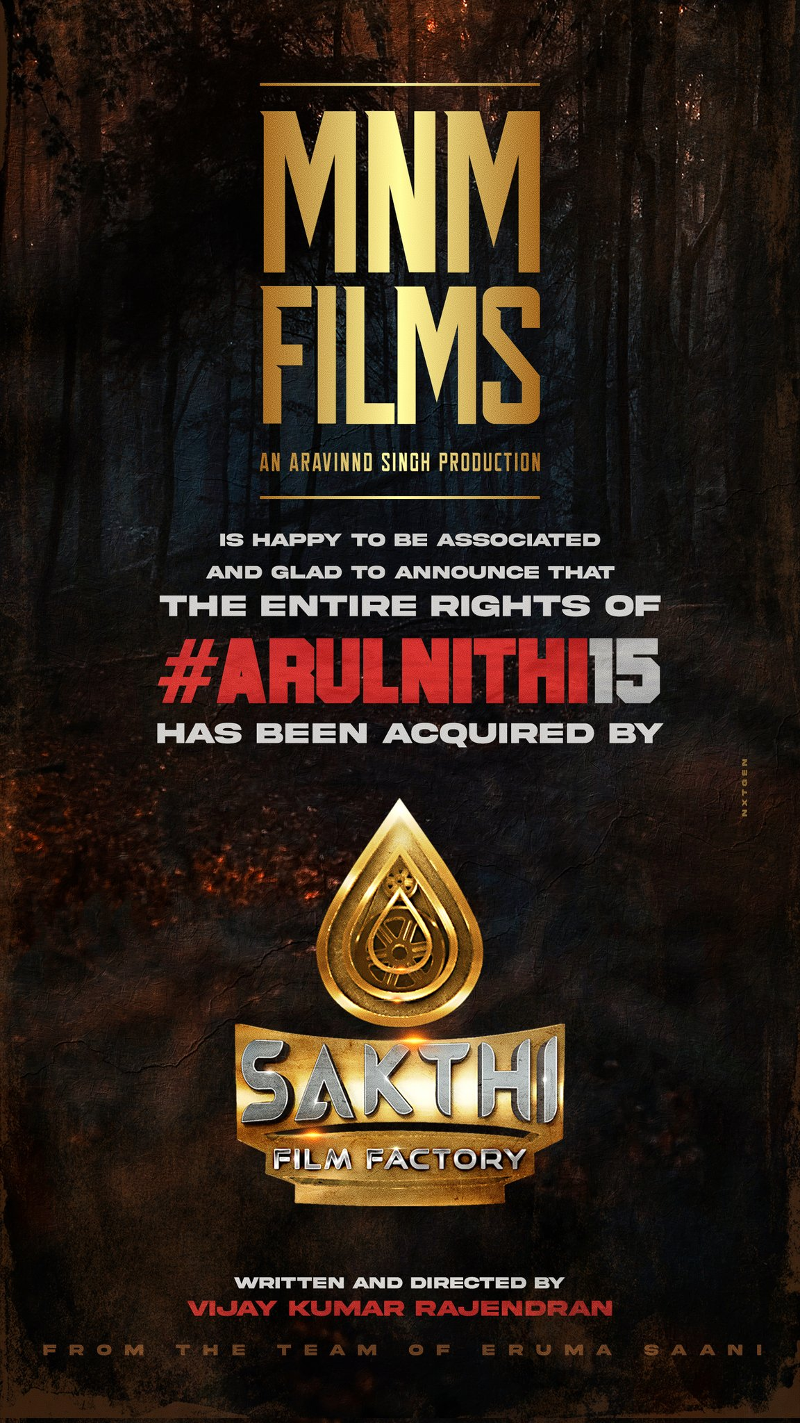 Sakthi Film Factory B. Sakthivelan acquired the complete rights of Arulnithi15 directed by Vijay Kumar Rajendran Produced by MNM Films Aravinnd Singh