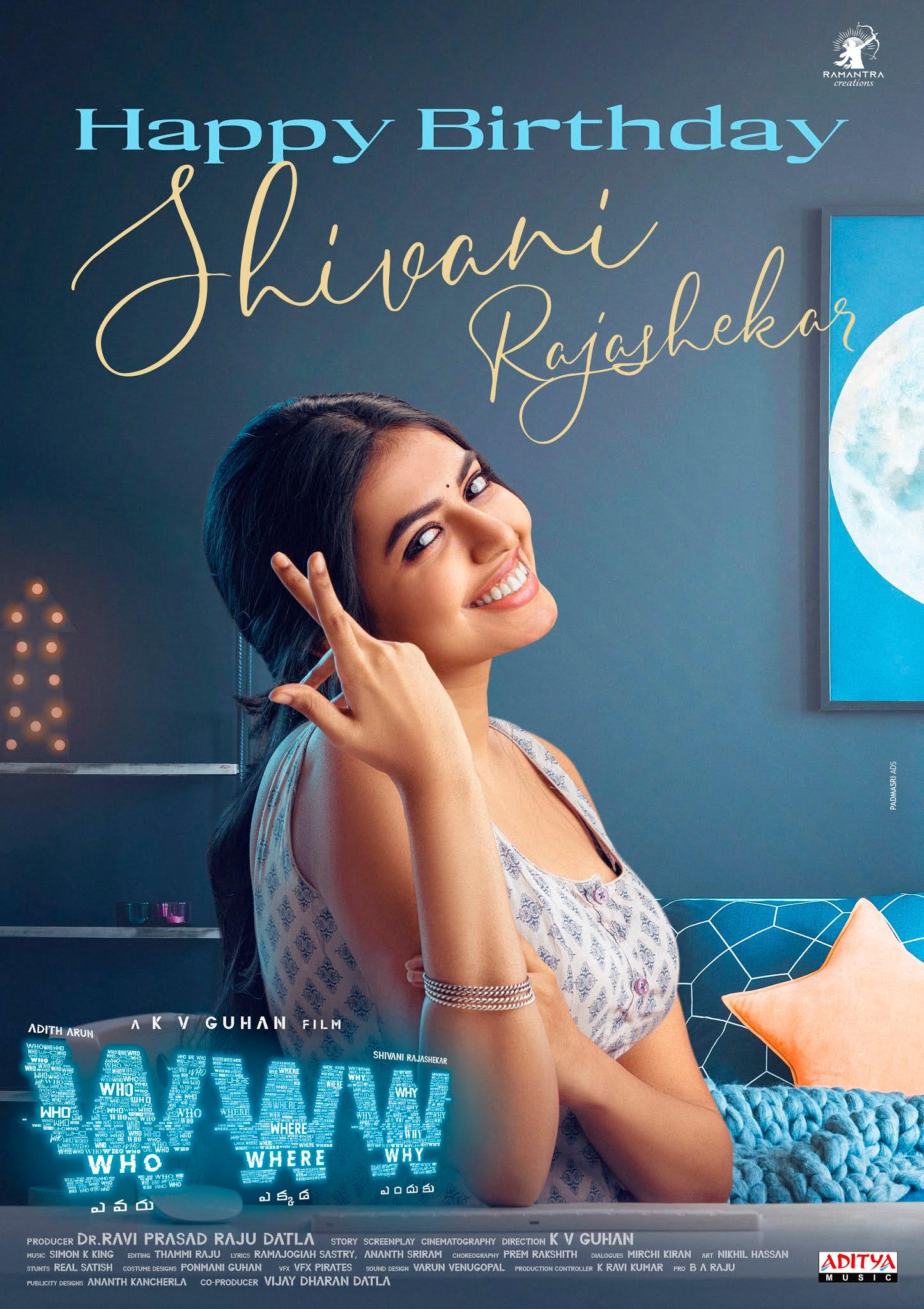 WWW Team Wishing Heroine Shivani Rajashekar With The Special Birthday Poster