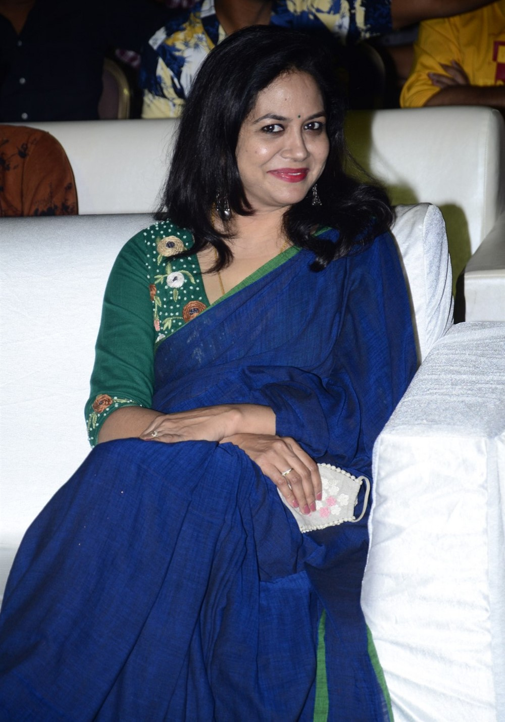 Singer Sunitha Blue Saree Pictures @ Gully Rowdy Movie Pre Release