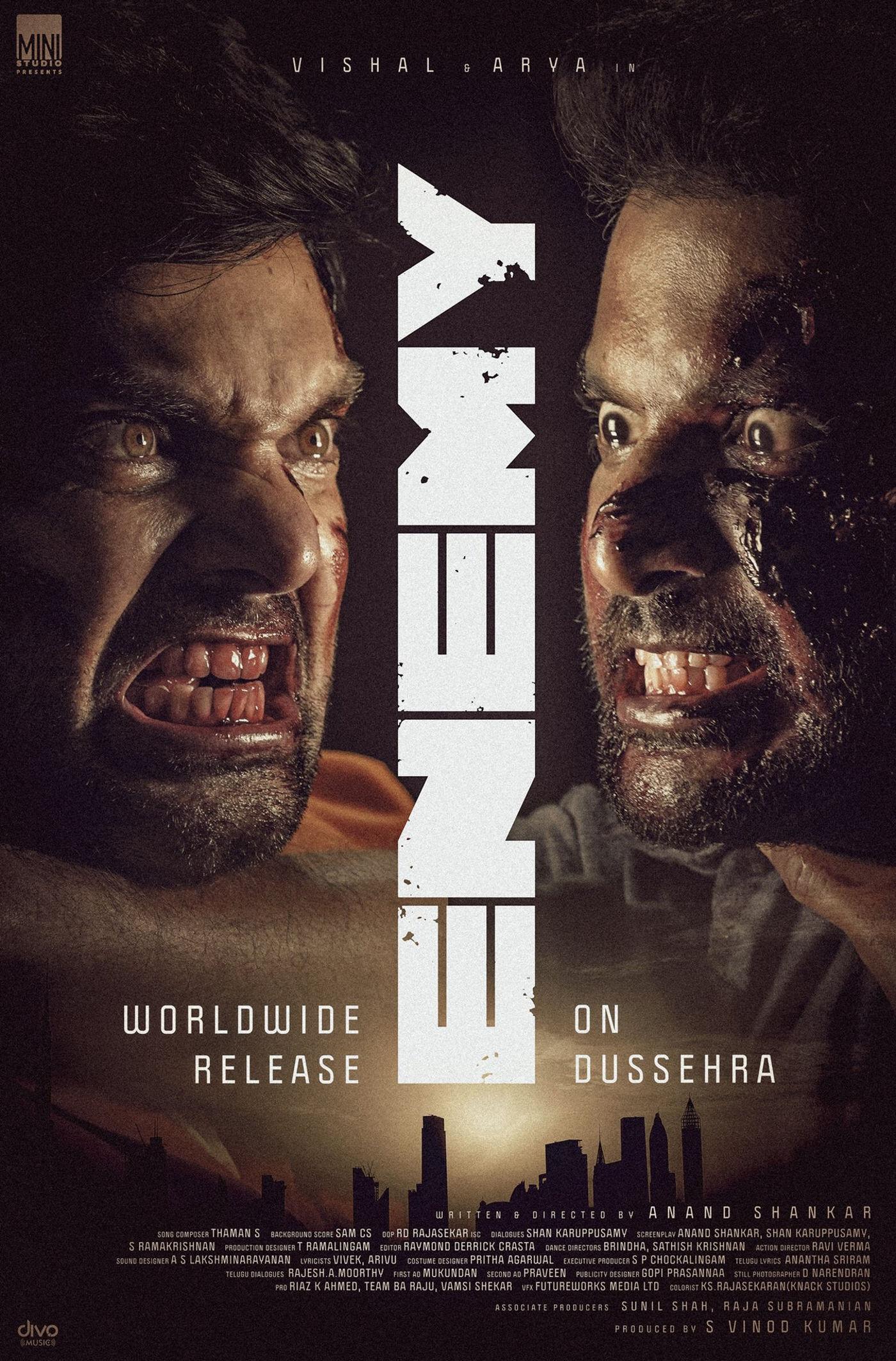 Vishal, Arya Enemy Movie Release on Dussehra HD Poster